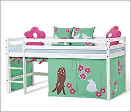 Halbhohes Bett Kids Heaven aus Kiefer auf Naturbasis lackiert
