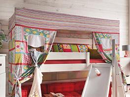 Himmel-Hochbett Kids Dreams mit Himmel aus Baumwolle