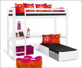 Hochbett Kids Heaven inklusive Loungeecke mit ausziehbarer Liegefläche