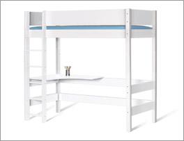 Unifarbenes Hochbett Kids Town in weiß mit Leiter und Tischplatte