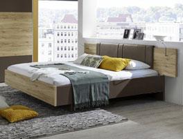 Holzbett Swansea aus braunem Havanna und in Doppelgrößen erhältlich