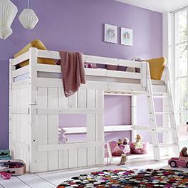 Hütten-Hochbett Kids Paradise für Mädchen in weißem Holz