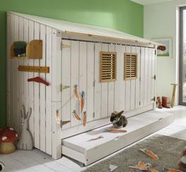 Hüttenbett Strandhaus mit Türen zum Schließen