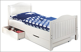 Jugendbett Nina aus Echtholz in Weiß 90x200 cm