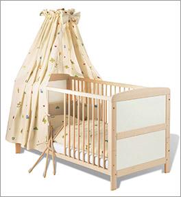 Kinderbett Florian aus Buche in Cremeweiß und 70x140 cm