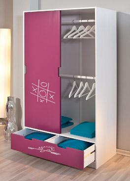Kleiderschrank Mina in Violett, Pink und Weiß