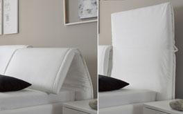 Das gepolsterte Kopfteil von Bett Panaro lässt sich durch aufklappen verstellen