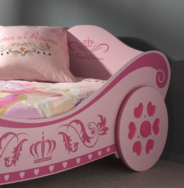 Kopfteil vom Kutschenbett Pink Heart mit dekorativem Aufdruck