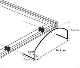 Skizze von der Anbringung des Bügels am Lattenrost orthowell liftflex motor