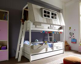 Lifetime Abenteuer und Etagenbett Villa aus weiß lackiertem Massivholz