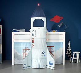 Stabiles Lifetime Midi Hochbett Rakete im Raumfahrt-Look