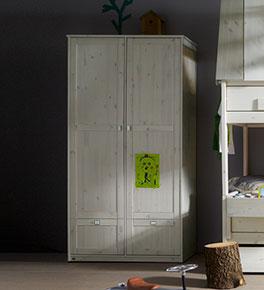Lifetime Schubladen-Kleiderschrank aus massivem Kiefernholz mit 2 Türen