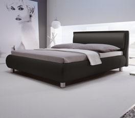 Luxusbett Alba aus schwarzem Kunstleder mit Fußhoehe 10cm