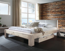 wildeichenbett z b in wei mit lederkopfteil maia. Black Bedroom Furniture Sets. Home Design Ideas