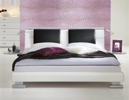 Doppelbett Malaga Einsteckkissen MDF Dekor Weiß