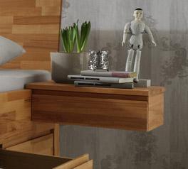 Schwebender Nachttisch Zarbo aus Massivholz