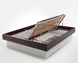 Bett Grosseto mit Bettkasten und Lattenrost der sich am Fußende öffnen lässt
