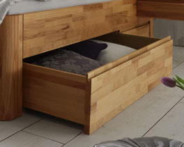 Massivholzbett Zarbo aus Kernbuche mit Bettkasten