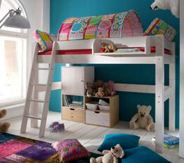 Midi-Hochbett Kids Dreams mit optionalem, bunt gemustertem Spielvorhang