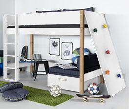 Stabiles Midi-Hochbett Kids-Town mit Kletterwand in Weiß