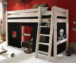 Midi-Hochbett Pirat Kiefer Weiß