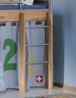 Mini-Hochbett Bastian mit gerader Leiter mit 3 Sprossen