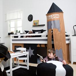 Stabiles Mini-Hochbett Cowboy für Kinder