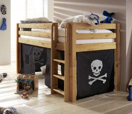 Mini-Hochbett Kids Paradise mit gerader Leiterund Pirat Vorhang