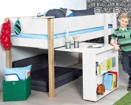 Mini-Hochbett Kids Town mit Auszieh-Schreibtisch mit 90x200cm Liegefläche