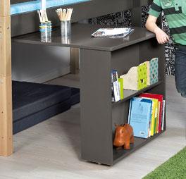 Mini-Hochbett Kids Town mit Auszieh-Schreibtisch inklusive höhenverstellbarem Einlegeboden