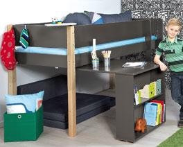 Mini-Hochbett Kids Town mit Auszieh-Schreibtisch inklusive Roll-Lattenrost