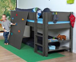 Mini-Hochbett Kids Town mit Kletterwand inklusive Roll-Lattenrost