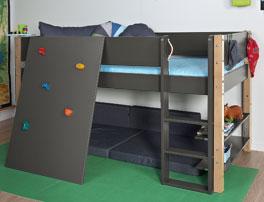Mini-Hochbett Kids Town mit Kletterwand aus hochwertigem MDF