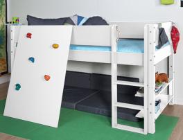 TÜV geprüftes Mini-Hochbett Kids Town aus MDF mit Kletterwand