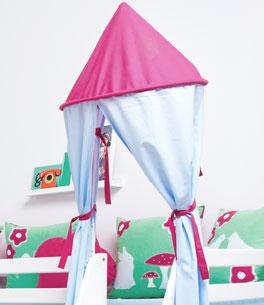 Mini-Rutschen-Hochbett Rotkäppchen mit Stoffturm aus Baumwolle