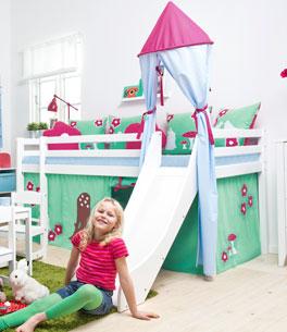 Mini-Rutschen-Hochbett Rotkäppchen wahlweise mit Spielturm