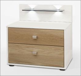 schubladen nachttisch in eiche und wei mit zwei ausz gen. Black Bedroom Furniture Sets. Home Design Ideas
