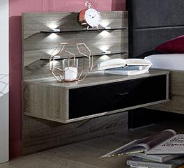 Nachttisch Korba mit Paneel und Beleuchtung
