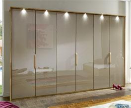Passepartout-Rahmen für Falttüren-Kleiderschrank Morley mit Beleuchtung