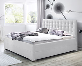 Modernes Polsterbett Pattani mit weißem Bezug