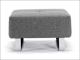 Polster-Sitzhocker Wilshere mit grauem Webstoff und verchromten Füssen