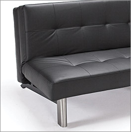 Design Schlafsofa Ballycastle aus hochwertigem, schwarzen Kunstleder