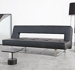Bequemes Kunstleder-Schlafsofa Kidwelly in schwarz mit hochwertigem Design