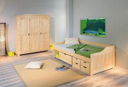 Schubkasten-Einzelbett Anna mit optionalem Schrank