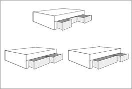 Die Liege und das Verhältnis ihrer Schubladen