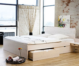 Schubkastenbett Finnland mit praktischem Stauraum