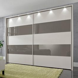 Schwebetüren-Kleiderschrank Baria mit abgesetzter Glas-Oberfläche