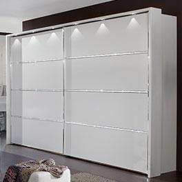 Schwebetüren-Kleiderschrank Huddersfield mit 3 Kristallstein-Leisten