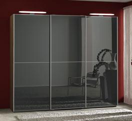 Kleiderschrank Perry mit Glastüren in Graphit-Grau