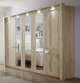 Spiegel-Drehtüren-Kleiderschrank Farim mit LED-Beleuchtung